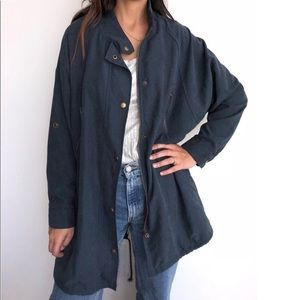 Brandy Melville Faux Suede Navy Trench Coat